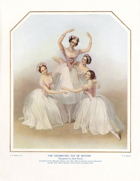 Four ballerinas depicted on a music sheet, performing The Celebrated Pas de Quatre, composed by Jules Perrot, as danced at Her Majesty's Theatre, London, on 12 July 1845