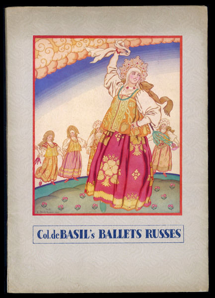 Cover programme design for Col de. Basil's Ballet Russes, at the Royal Opera House at Covent Garden, for June-September 1936