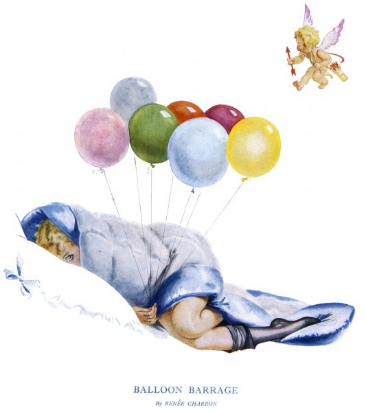 A young woman, rumpled stockings just visible, hides beneath an eiderdown quilt with a bunch of balloons while a baby Cupid flutters above her bed waiting to strike. Goodness knows what is going