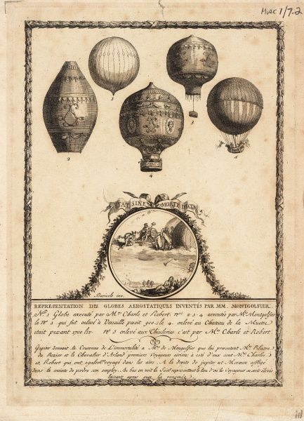 Balloon designs by Charles and Robert (1, 5) and the Montgolfier Brothers (2, 3, 4)