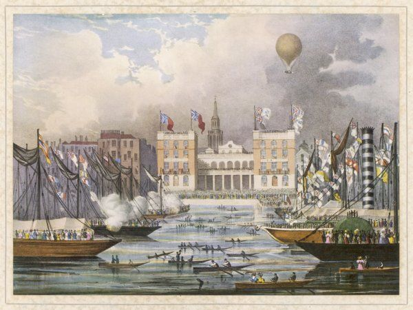 The opening of Hungerford Market, London, is celebrated by a balloon flight by G Graham