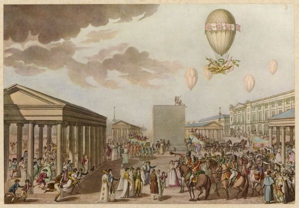 Napoleon's wedding to Josephine is celebrated by a highly ornamented balloon
