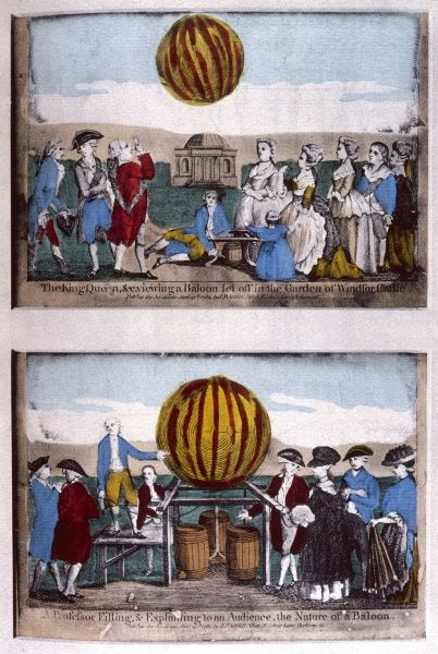 A balloon is demonstrated to King George III at Windsor (top), and a professor lectures on the same subject (below)
