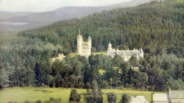 Photograph showing the exterior of Balmoral Castle, near Braemar, Aberdeenshire, 1935. Balmoral is one of the residences of the British Monarch