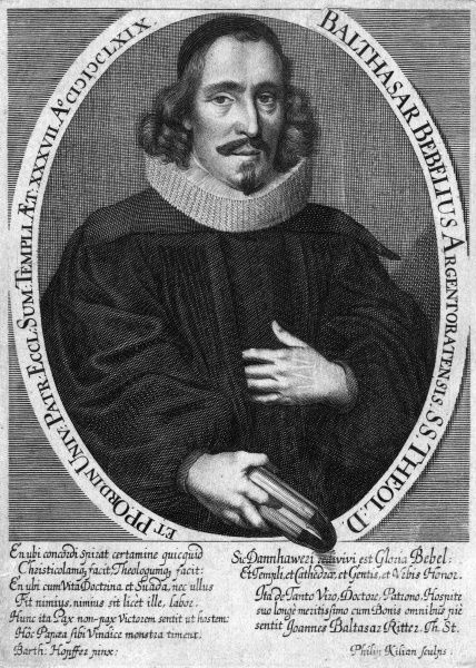BALTHASAR BEBEL Scholar and theologian of Germany or the Netherlands... holding a book outside the frame. Date: 1631 - 1669?
