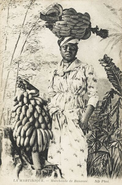A wonderful postcard of a West Indian Banana seller from the Island of Martinique