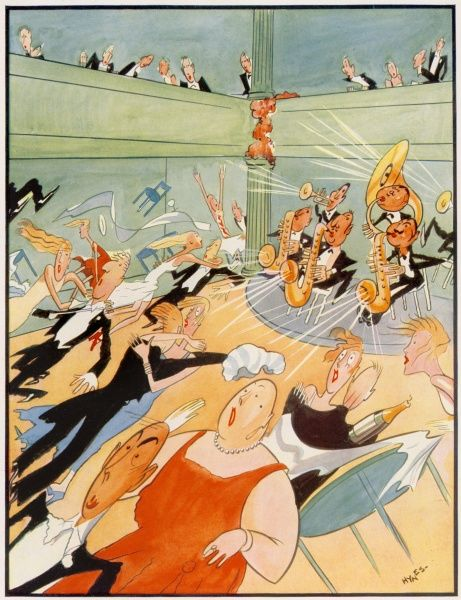 Humorous illustration showing a band in a club or restaurant blowing their brass instruments so hard, that diners and dancers find themselves struggling against a gale force wind - wigs are blown off and tables overturned. Date: 1930