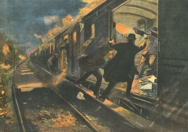 Train-robbers attack a luggage van, wound two of the staff. Date: 1907