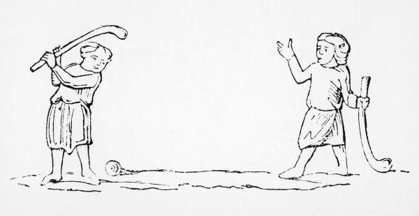Two men play a game of 'bandy- ball', a primitive form of golf
