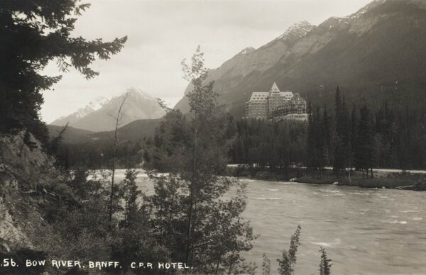 The Canadian Pacific Railway's Banff Springs Hotel at Banff, Alberta viewed from the Bow River, Canada