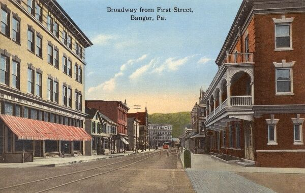 Bangor, Pennsylvania, USA - Wiliam H Bowers & Co. Department Store can be seen on the left. This is view of Broadway from First Street. The complete lack of cars, people and indeed any form of activity is slightly unnerving.... Date: circa 1910s