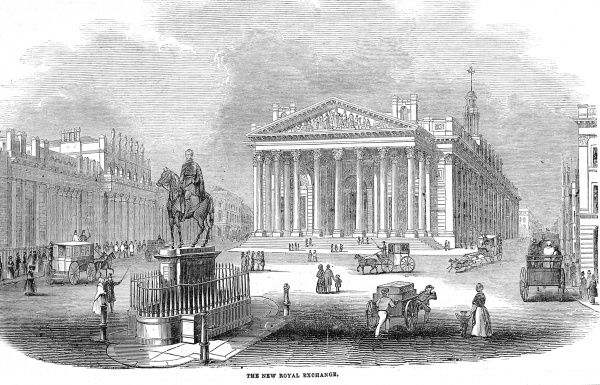 Engraving showing the Bank of England (left) and the Royal Exchange (centre), on the corner of Threadneedle and Cornhill Streets, City of London, 1844