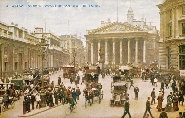 A general view of Bank and the Royal Exchange showing a mixture of horses and carts and motor cars