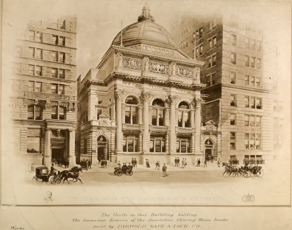 The Clearing House of 'The Associated Banks' of New York City. Photograph of a lithograph after a drawing by Richard Rummell, depicting the New York Clearing House