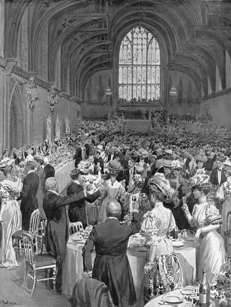 Illustration showing the banquet, held in Westminster Hall, in the honour of the Colonial Premiers visiting London for the Imperial Conference of 1907