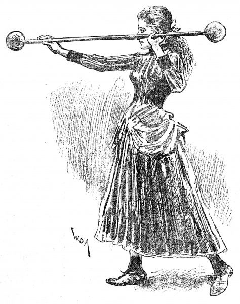 Illustration showing a woman undertaking a bar-bell exercise at the gymnasium of the Polytechnic Christian Institute, London, 1888