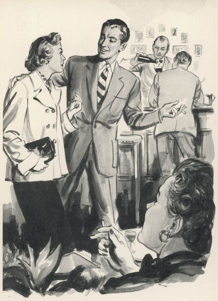 A man wearing a suit, encourages his female companion to sit down and have a drink with him. A bartender can be seen in the background pouring a drink