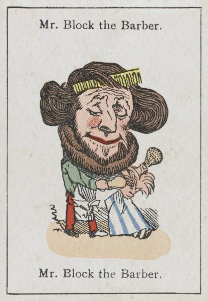 "Mr Block the Barber, from ""Happy Families"" devised in Britain by Mr Jacques in 1861"