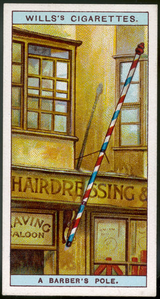 A barber's shop, with a distinctive pole
