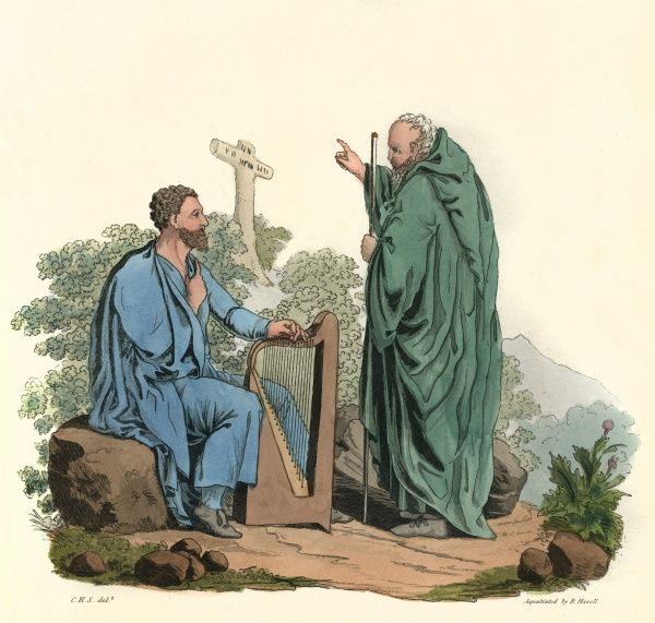 A Bard and an Ovate (soothsayer) whose functions accompanied those of the druids, as two associated professional classes of religious practitioners. Date: BCE