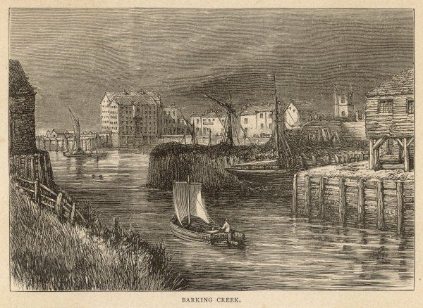 A small sailing boat makes its way down Barking Creek, which eventually joins the River Thames; in the 1850s, the creek was home to England's largest fishing fleet