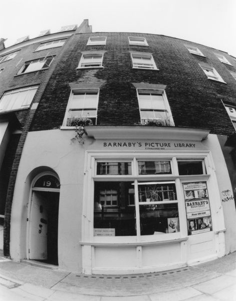 The Georgian shop at 19 Rathbone Street (off Oxford Street), London, which housed Barnaby's Picture Library (established 1931) from 1969 until it closed in 2001. Date: 1969 - 2001
