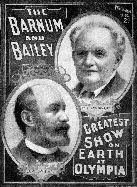 Front cover of the Barnum and Bailey Show programme for the 1897 performances at Olympia, London