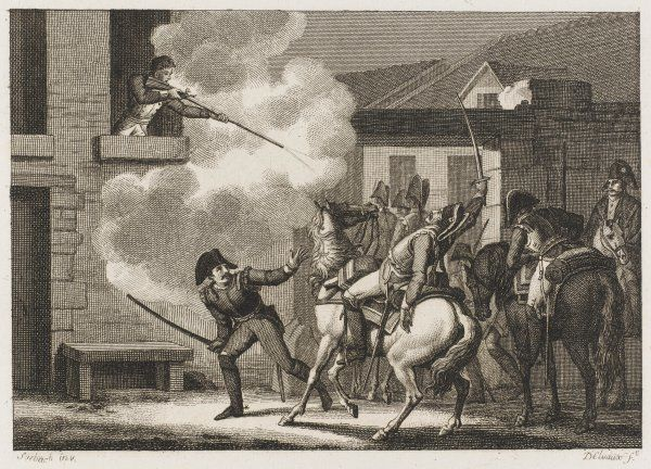 When Prussians threaten cavalry captain Baron de Deux- Ponts, he defends himself from the window of his lodgings