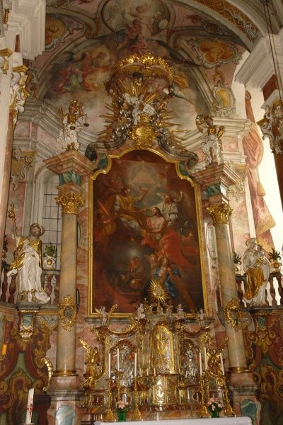 View of the baroque altar in the Dominican Convent Church in Landsberg am Lech, Bavaria, Germany. The church was built in 1720
