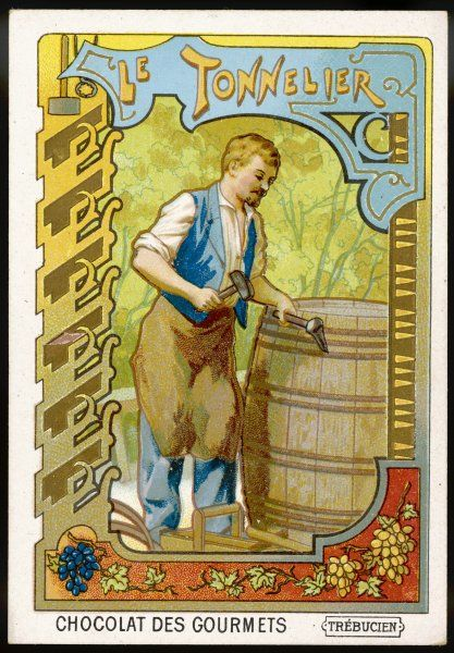 Le tonnelier - BARREL-MAKER - putting the finishing touches to a wine-barrel