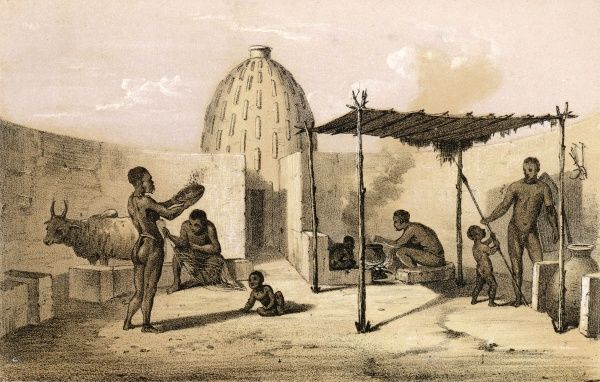 Interior of a Musgu dwelling: Dr Heinrich Barth crossed the Sahara from Tripoli, through the Chad basin to Timbuktu, where he did work on the languages and ethnography. Date: 1851