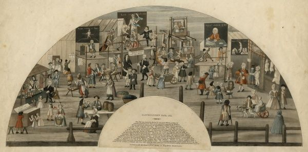 Coloured, semi-circular illustration of Bartholomew Fair (1721), with small text giving the history of the fair, published by J. F. Setchel, London, c1820. HPF/5C/47