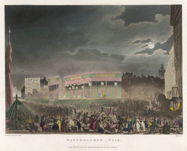 A panoramic view of the Fair, showing swings and roundabouts in the foreground, the stage in the background, and all manner of hawkers, tricksters and vendors of things to eat