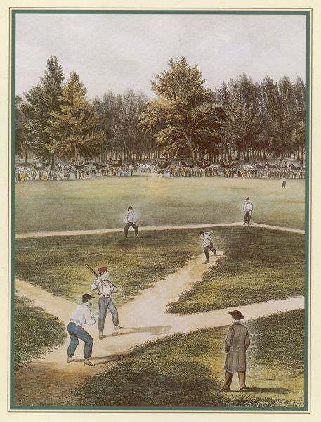 A game of baseball in an open field, spectators round the perimeter : a formally dressed umpire watches as the pitcher makes his run-up from the centre of the diamond