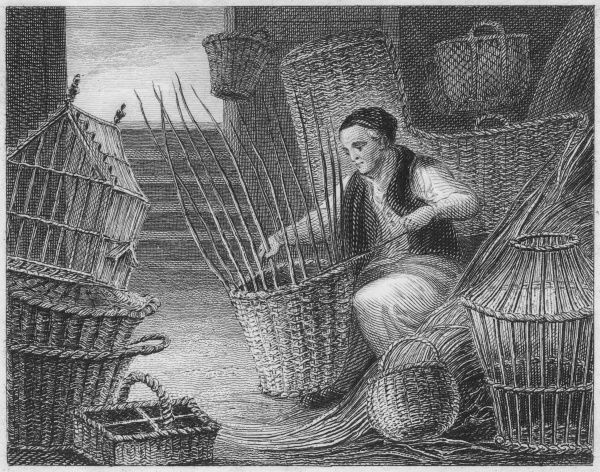 A man weaving willow baskets by hand