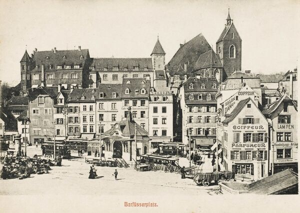 Barfusserplatz in Basle (Basel), Switzerland - town on the border with France and Germany