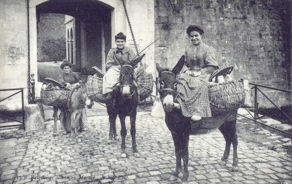 Basque women on their way to market, French Pyrenees Date: circa 1910s