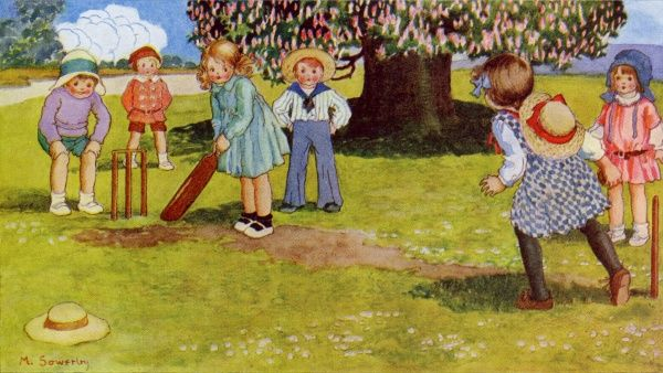 With Bat & Ball. Artist: Millicent Sowerby. Happy children out in the country enjoying a game of cricket Date: 1915