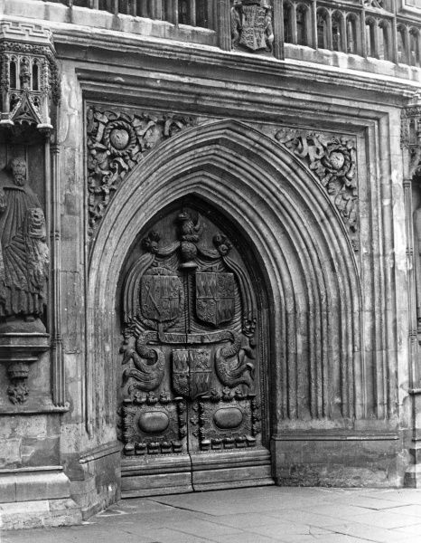 The magnificent West Door of Bath Abbey, Somerset, England. Date: 12th century