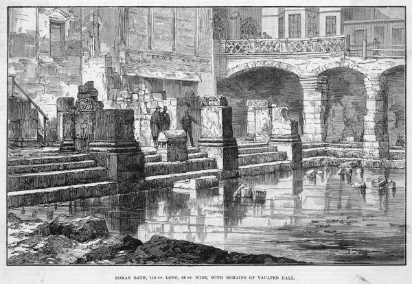 The Roman Baths of Aquae Solis at Bath, Avon, with the remains of the vaulted hall