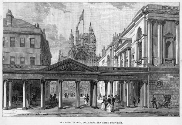 Exterior of the Grand Pump Room, the Colonnade and the Abbey Church, at Bath, Avon
