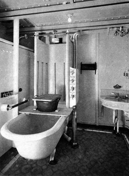 Photograph of a bathroom aboard Royal Mail Steam Packet Company's 'Almanzora', 1920. Launched in 1914, she served as an Armed Cruiser in World War I, then was reconverted into a liner. She was scrapped in 1948
