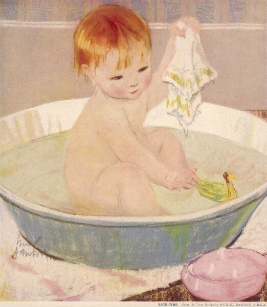 A toddler enjoys bath time in an old-fashioned tin tub and a toy duck