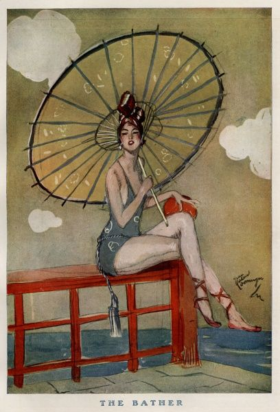 """The Bather"" Woman in swimwear holding a large parasol sitting on the pier, getting ready to go for a swim Date"