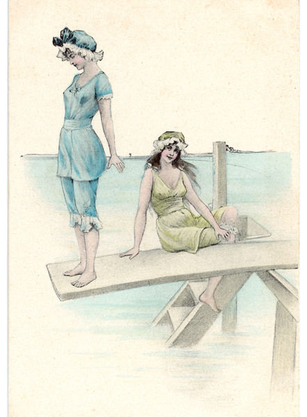 Two girls in bathing suits one about to dive into the sea from a diving board