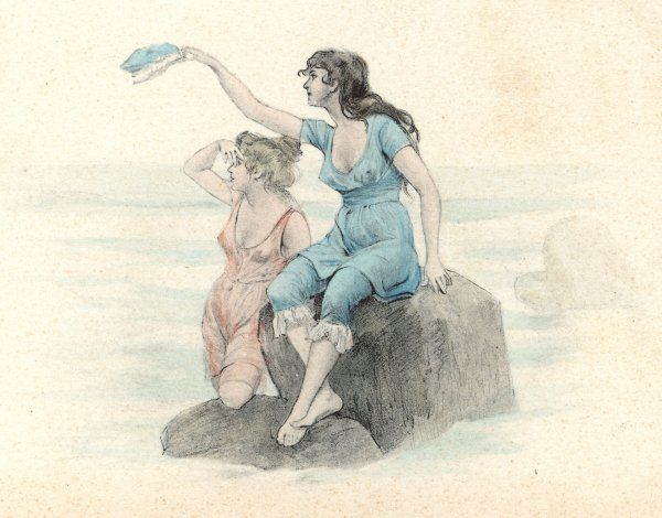 Two bathing beauties, one in pink, one in blue, waving from a rock