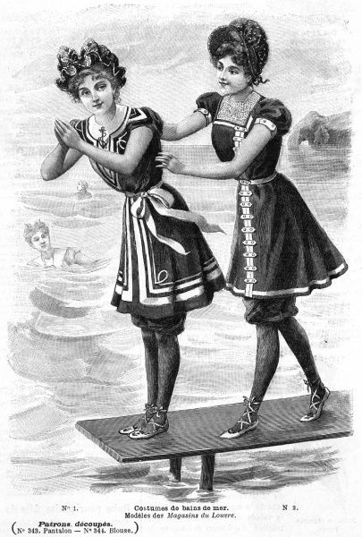 Fashion plate showing costumes worn by bathing beauties Date: 1899