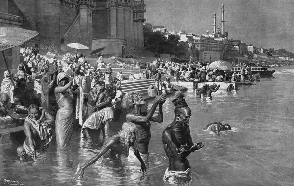 Bathing in the Ganges by Fortunino Matania