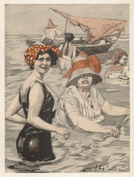 Bathing lady and bathing-woman