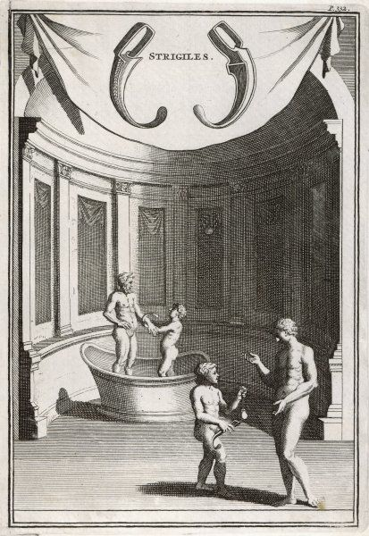 Bathing and washing in Ancient Rome. Men and boys using 'strigiles' in a bath house